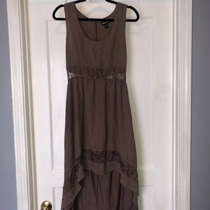 Brown Lace High Low Dress